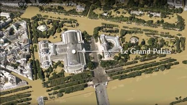 Paris'te sel simülasyonu