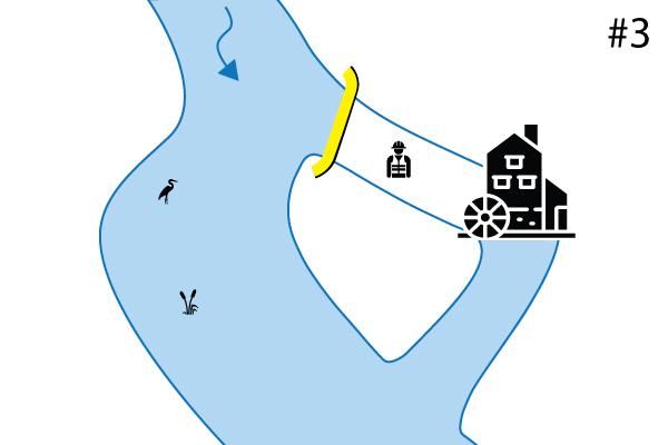 Water-Gate © esnek batardolar. İkincil bir yatağa dikey kurulum şeması. Durum # 3