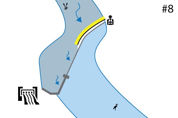 Water-Gate © esnek batardolar. Nehir eşiğindeki kurulum şeması | Dolusavak. Vaka # 7